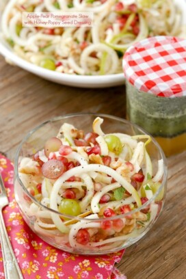 Spiralized Apple and Pears Pomegranate Slaw with Honey-Poppy Seed Dressing
