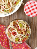 Spiralized Apple-Pear Pomegranate Slaw with Honey-Poppy Seed Dressing above - BoulderLocavore.com