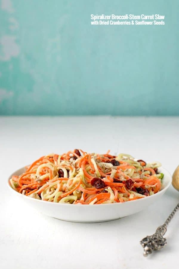 Spiralizer Broccoli-Stem Carrot Slaw with Dried Cranberries & Sunflower Seeds - BoulderLocavore.com