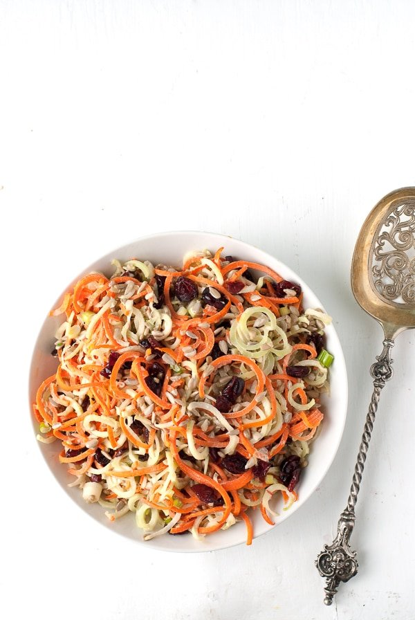 Spiralizer Broccoli Stems -Carrot Slaw with Dried Cranberries and Sunflower Seeds - BoulderLocavore.com