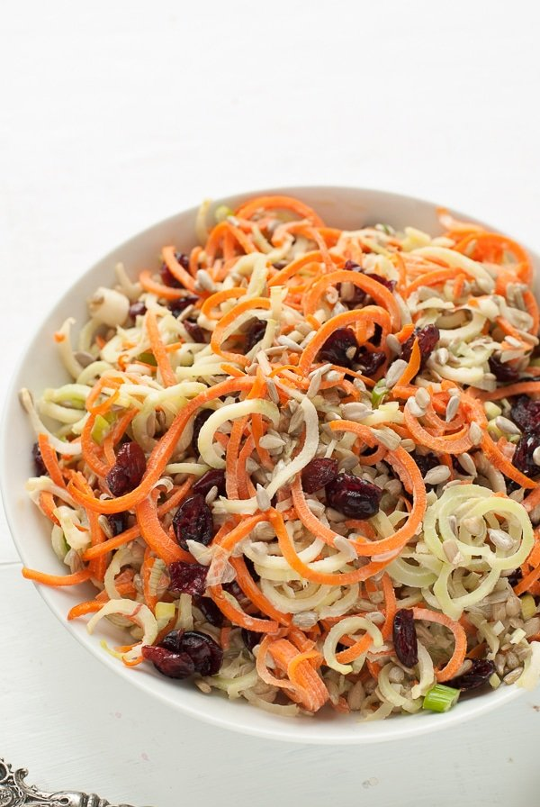 overhead view of a bowl of Spiralized Broccoli Stem Carrot Slaw with Dried Cranberries and Sunflower Seeds