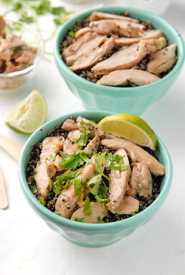 Thai Basil-Quinoa Bowl with fresh lime wedge