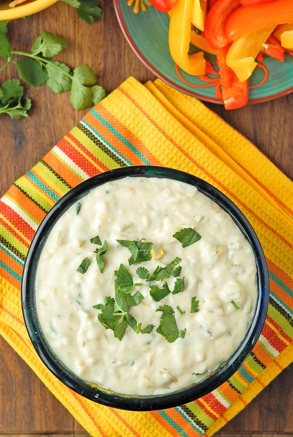 Slow Cooker White Queso Green Chile Dip {Queso Blanco} with cilanto on top from above