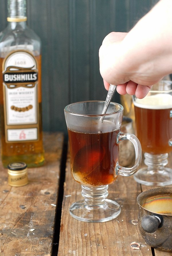 Authentic Irish Coffee recipe - stirring the sugar - BoulderLocavore.com