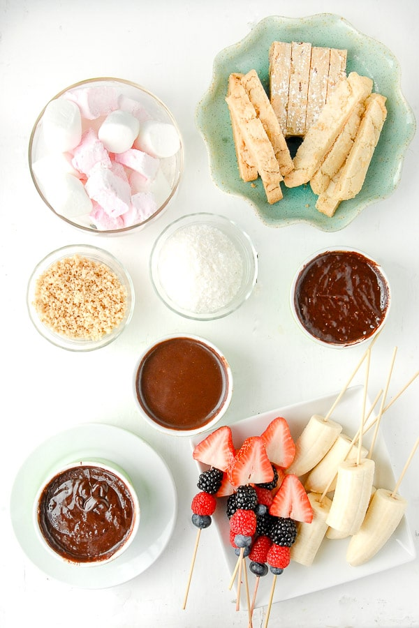 Chocolate Fondue pots with dipping ingredients