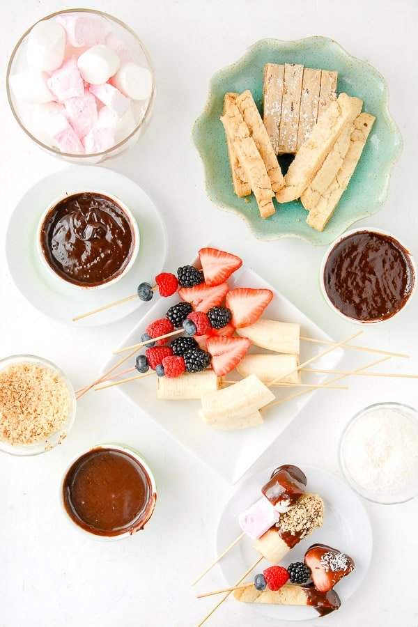 Chocolate Fondue pots with dipping items