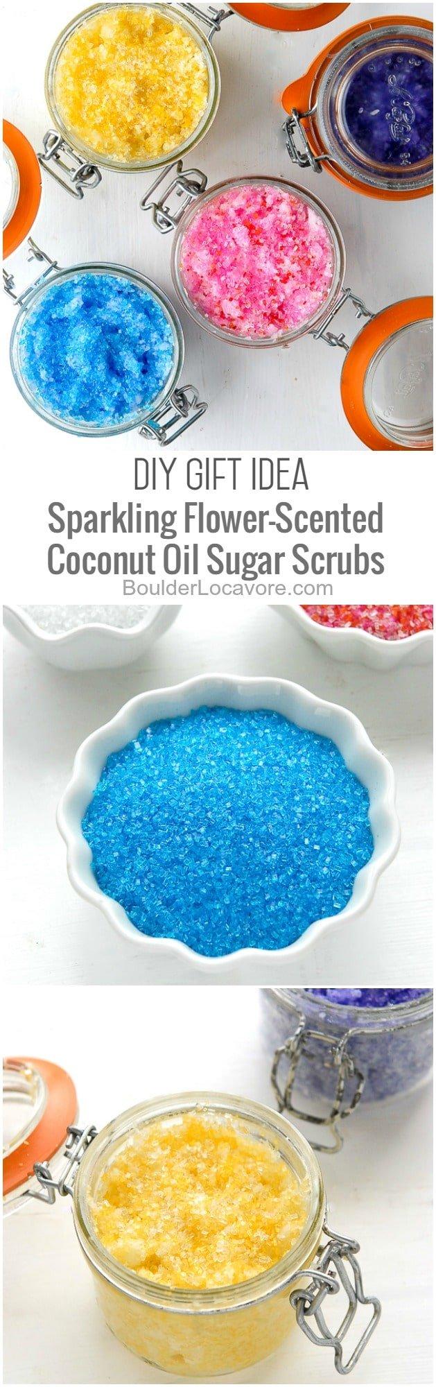 sugar coconut oil sugar scrub collage