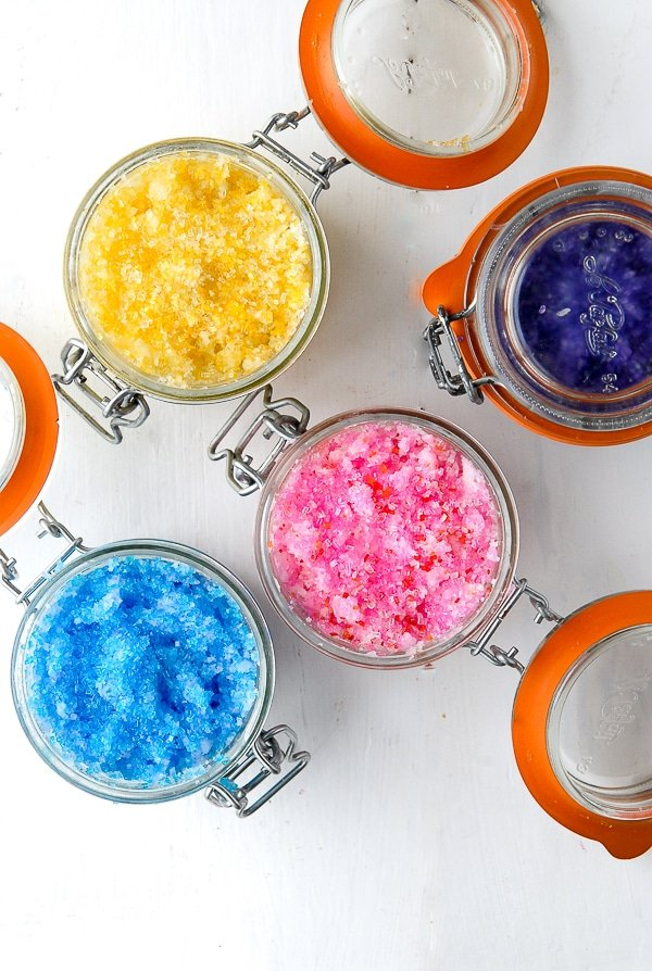 DIY Gift Idea- Sparkling Flower-scented Coconut Oil Sugar Scrubs DIY Gifts - BoulderLocavore.com