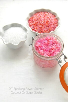 DIY Sparkling Flower-scented Coconut Oil Sugar Scrub pink with pink sugar