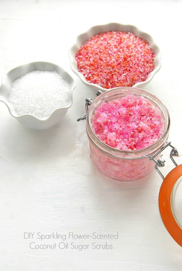 DIY Sparkling Flower-scented Coconut Oil Sugar Scrubs - BoulderLocavore