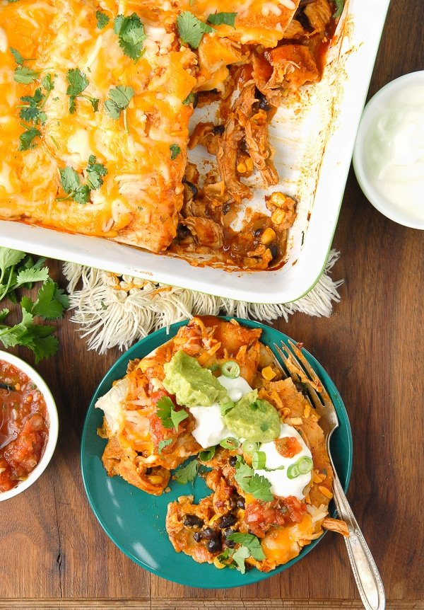 Chipotle Green Chile Chicken and Black Bean Enchiladas - BoulderLocavore.com