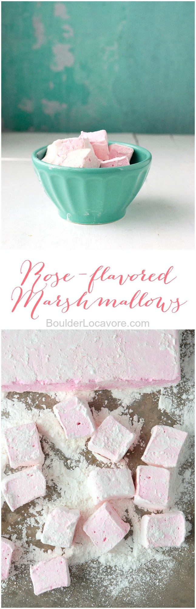 rose flavored marshmallows collage