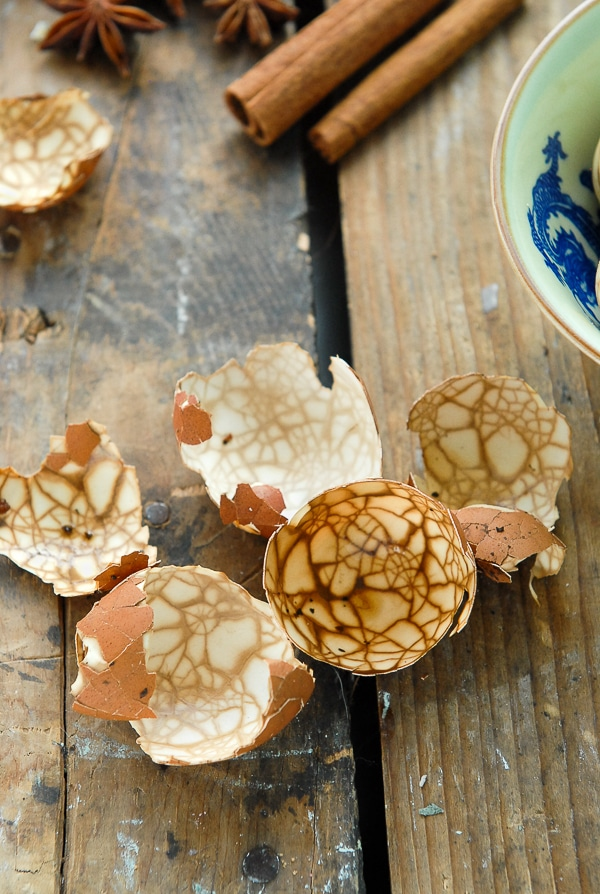 Marbled Chinese Tea-Spice Eggs shells - BoulderLocavore.com