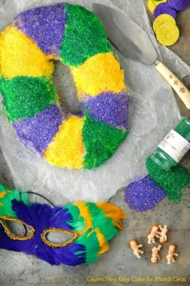 Mardi Gras King Cake with sprinkles and mask