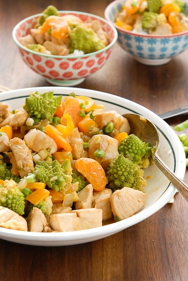 Fast, Healthy and Easy Orange Chicken - Romanesco Stir Fry with Clementines - BoulderLocavore.com