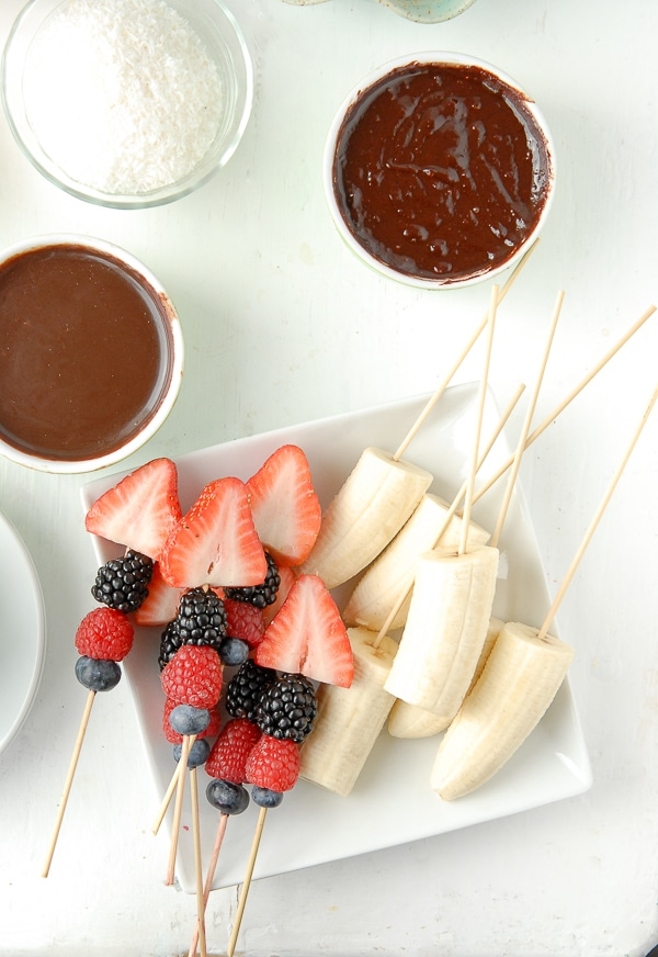Slow Cooker Individual Creamy Chocolate Fondue Pots fruit skewers - BoulderLocavore.com