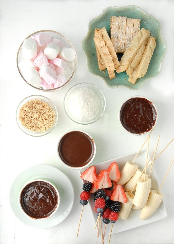 Slow Cooker Individual Creamy Chocolate Fondue Pots spread - BoulderLocavore.com