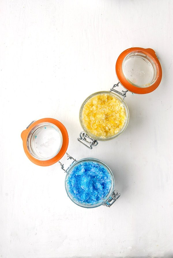 Sparkling Flower Coconut Oil Sugar Scrubs Blue-Lilac Yellow-Honeysuckle - BoulderLocavore.com
