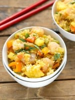 Fast and Fabulous Spicy Pineapple Shrimp Fried Rice. Healthy, fresh ingredients combine for a one skillet dish for busy nights! BoulderLocavore.com
