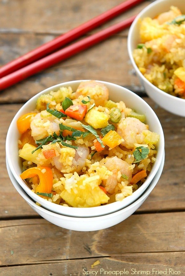 Fast and Fabulous Spicy Pineapple Shrimp Fried Rice. Healthy, fresh ...