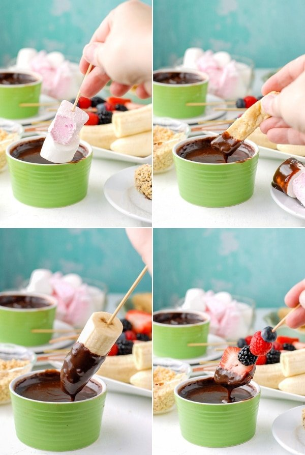 What to Dip in Chocolate Fondue collage