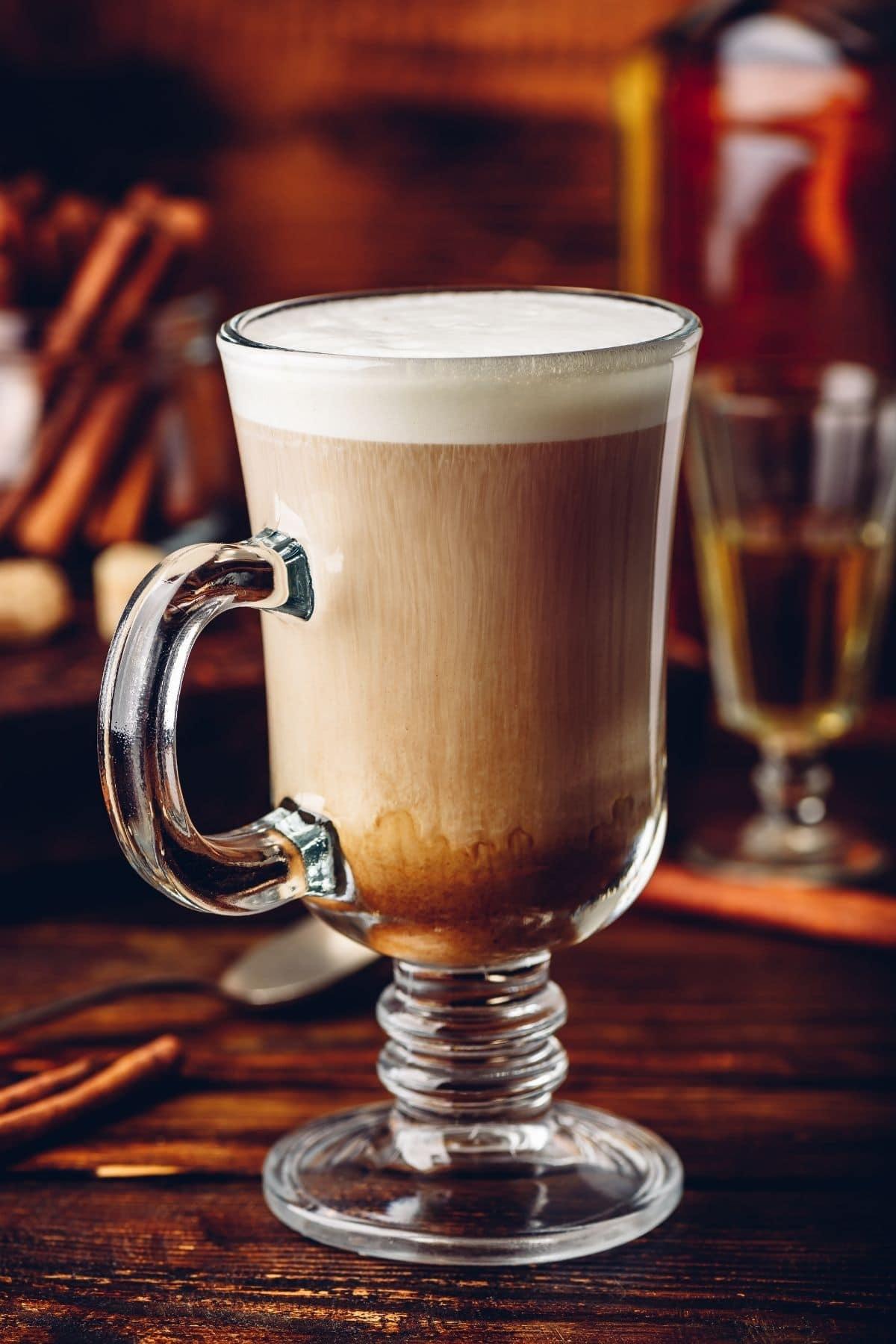 irish coffee in glass mug