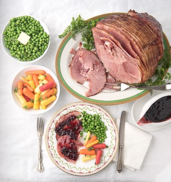 Bone-In Sprial-Cut Ham with Cherry Chipotle Glaze Easter Dinner - BoulderLocavore.com