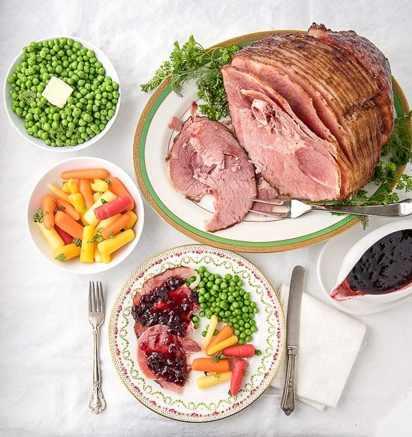 Cherry Chipotle Glazed Ham with fresh vegetables