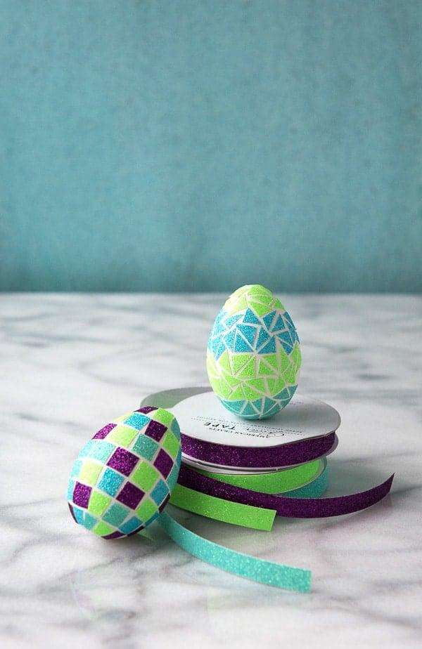 DIY Glitter Tape Mosaic Easter Eggs