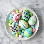 DIY Glitter Tape Mosaic & Satin Ribbon Tape Easter Eggs