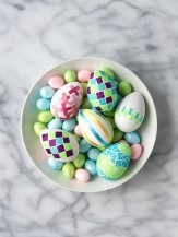 DIY Glitter Tape Mosaic and Satin Ribbon Easter Eggs - BoulderLocavore.com