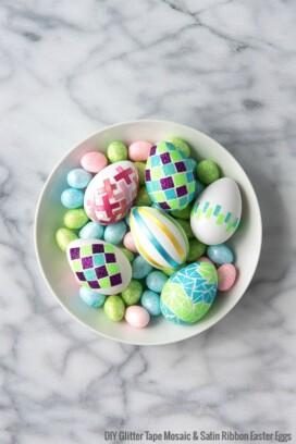 DIY Glitter Tape Mosaic and Satin Ribbon Easter Eggs