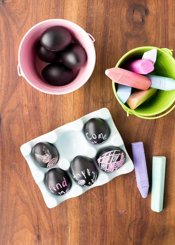 Decorating DIY Chalkboard Easter Eggs - BoulderLocavore.com