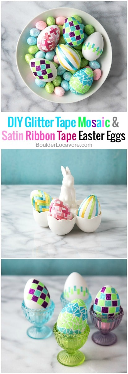 white bowl of satin ribbon decorated easter eggs