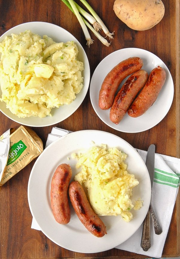 Irish Potato Champ and Sausages - BoulderLocavore.com