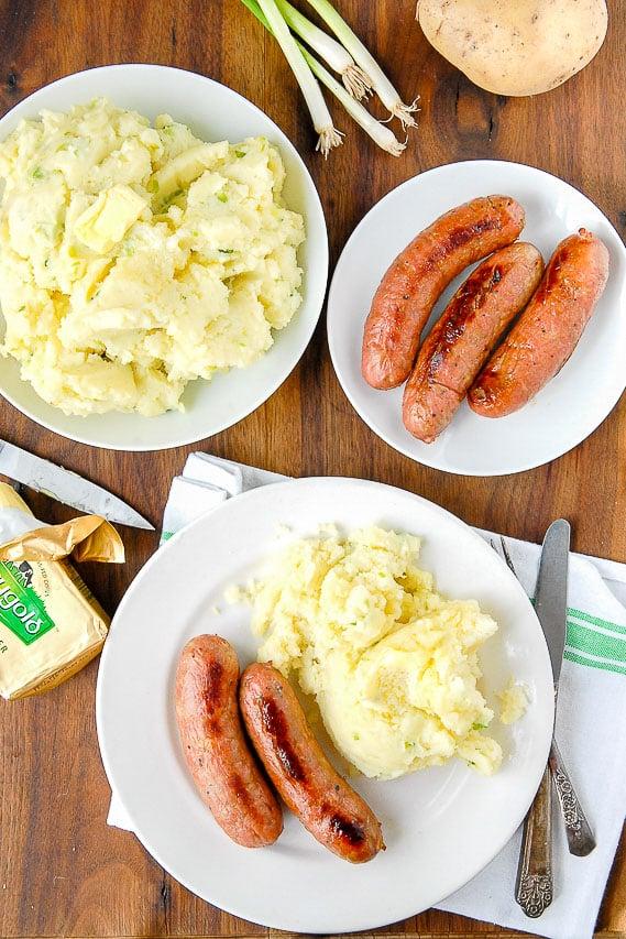 Irish Potato Champ with sausages