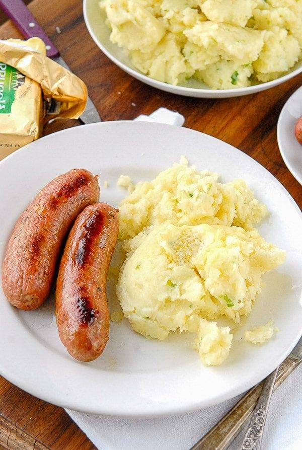 Plate of Irish Potato Champ and sausages