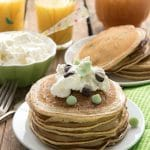 Mint Chocolate Chip Pancakes with Homemade Vanilla Syrup {gluten-free}