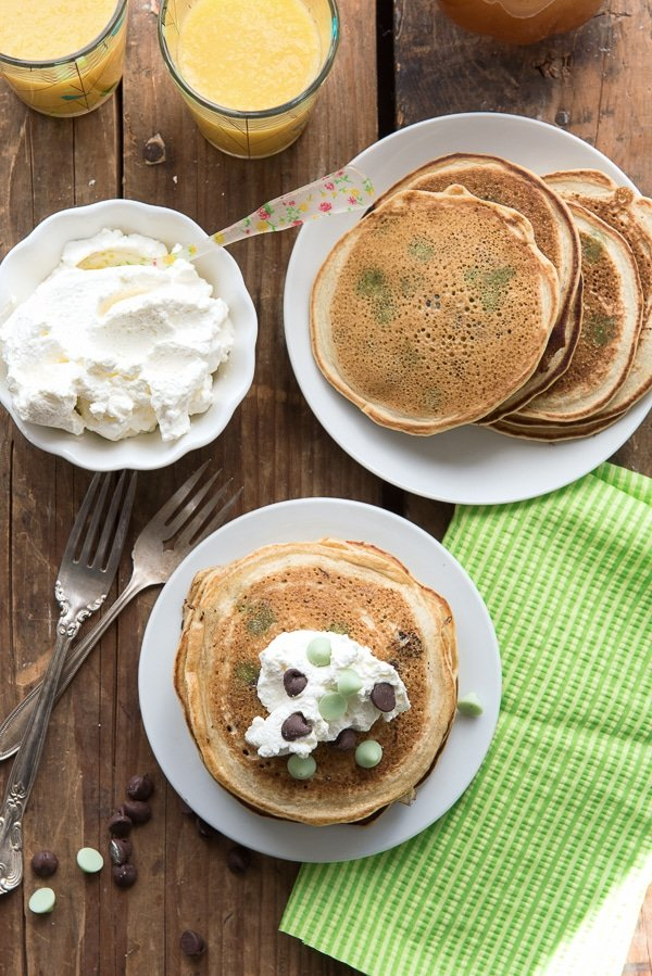 Chocolate Chip Pancakes with Homemade Vanilla Syrup and whipped cream