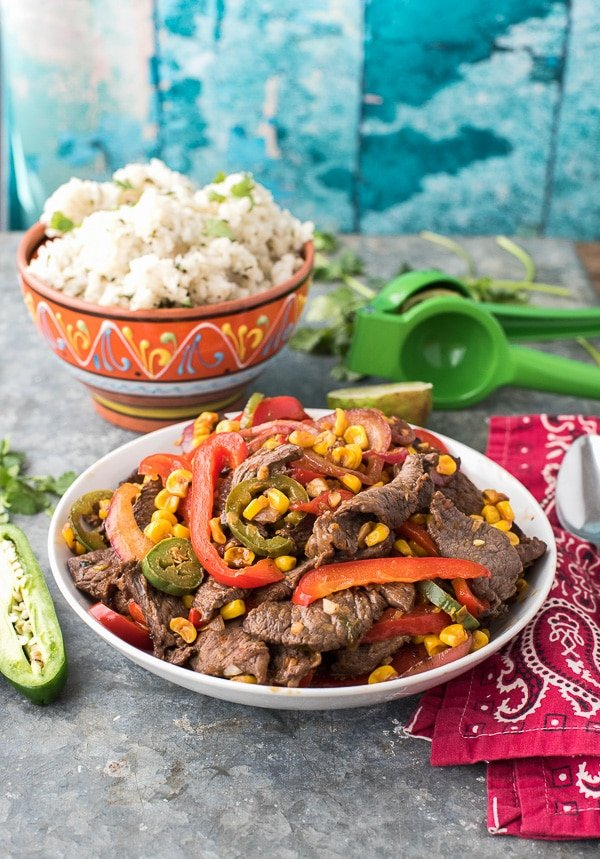 Spicy Southwestern Steak Stir Fry with red peppers and corn