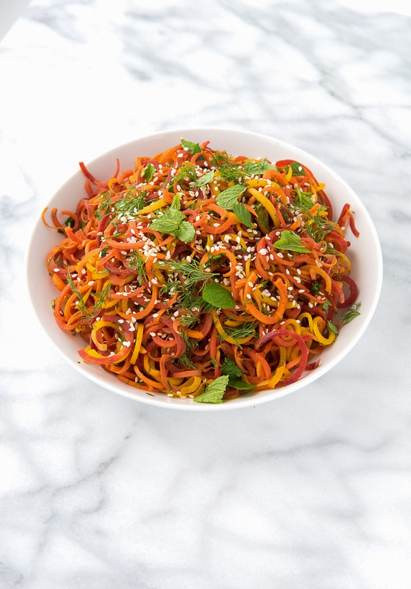 Spiralized Roasted Carrots with Mint and Dill - BoulderLocavore.com