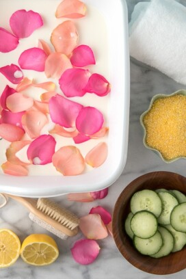 Milk bath rose petals, cornmeal, cucumber slices
