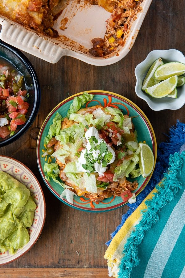 Mexican Chicken Casserole with guacamole, lettuce and salsa