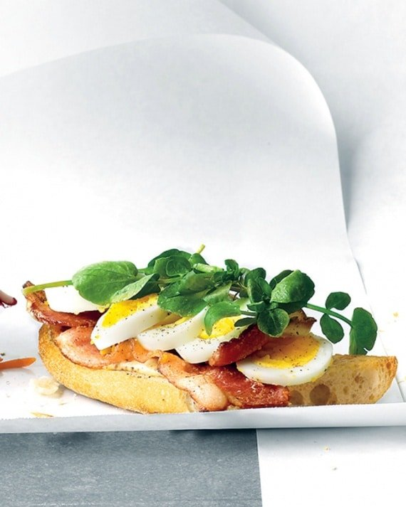 Open-Faced Egg, Bacon, and Watercress Sandwich {Martha Stewart}