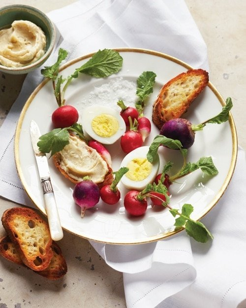 Hard-Cooked Eggs with Radishes and Anchovy-Butter Crostini {Martha Stewart}