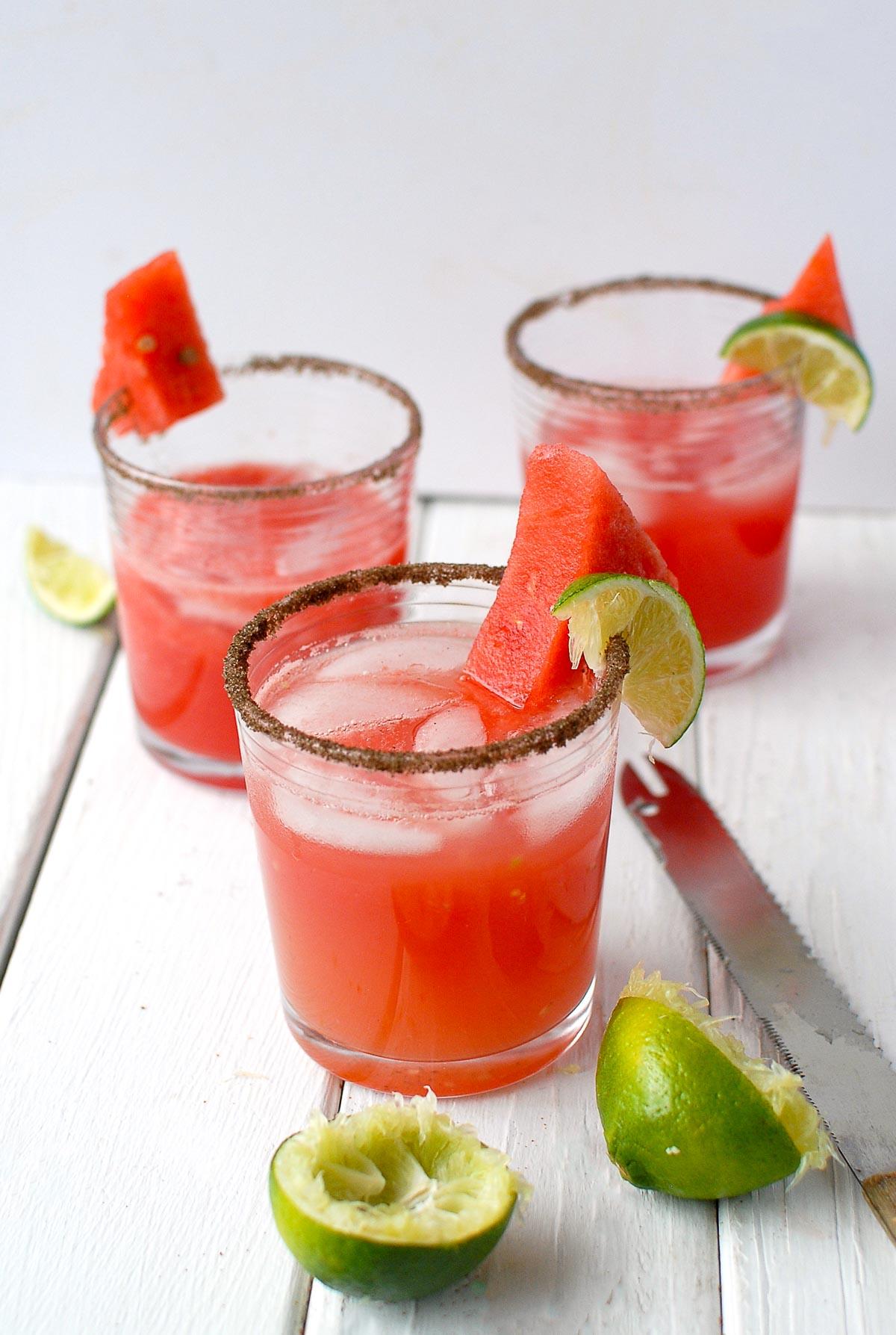 watermelon jalapeno margarita 3 glasses