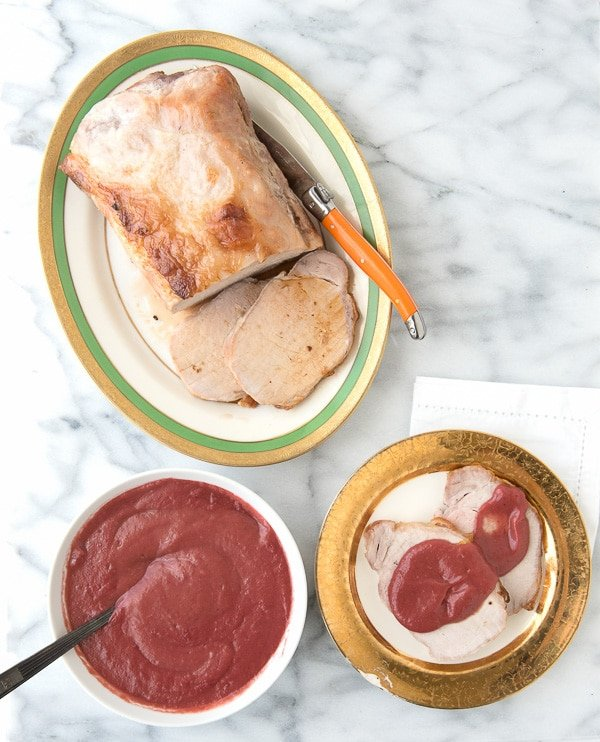 Boneless Pork Loin Roast with Rhubarb-Cherry Port Sauce - BoulderLocavore.com