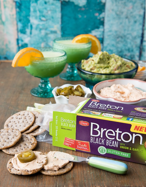Breton Gluten-Free Black Bean crackers with Cream Cheese Bacon Salsa spread - BoulderLocavore.com