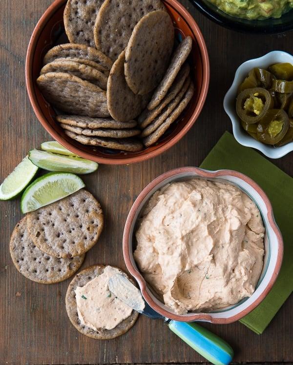 Cream Cheese Bacon Salsa spread with Black Bean crackers - BoulderLocavore.com