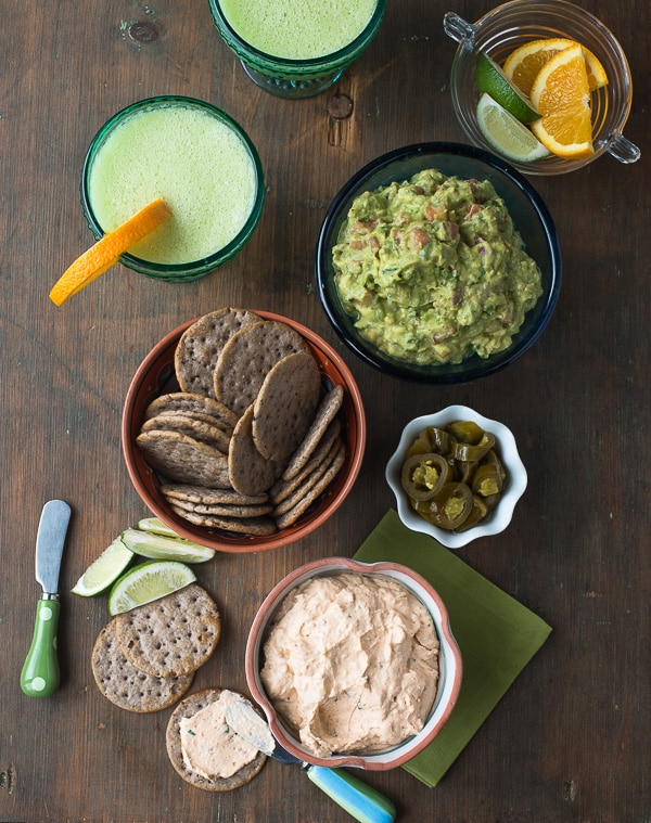 Cream Cheese Bacon Salsa spread with Black Bean crackers with Honeydew Melon Margaritas - BoulderLocavore.com